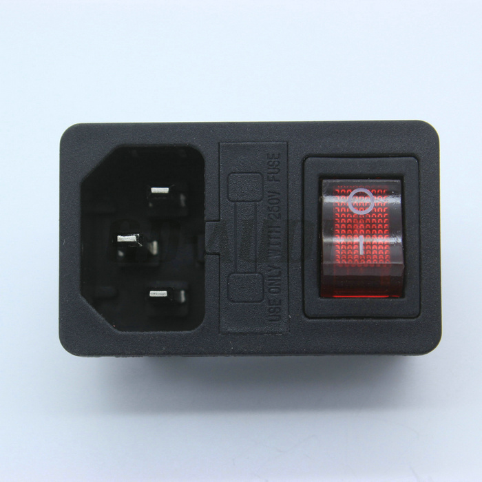 C8 Mains AC Power Plug Connector Red Light Rocker Switch Fuse Holder 2.5A CE TUV