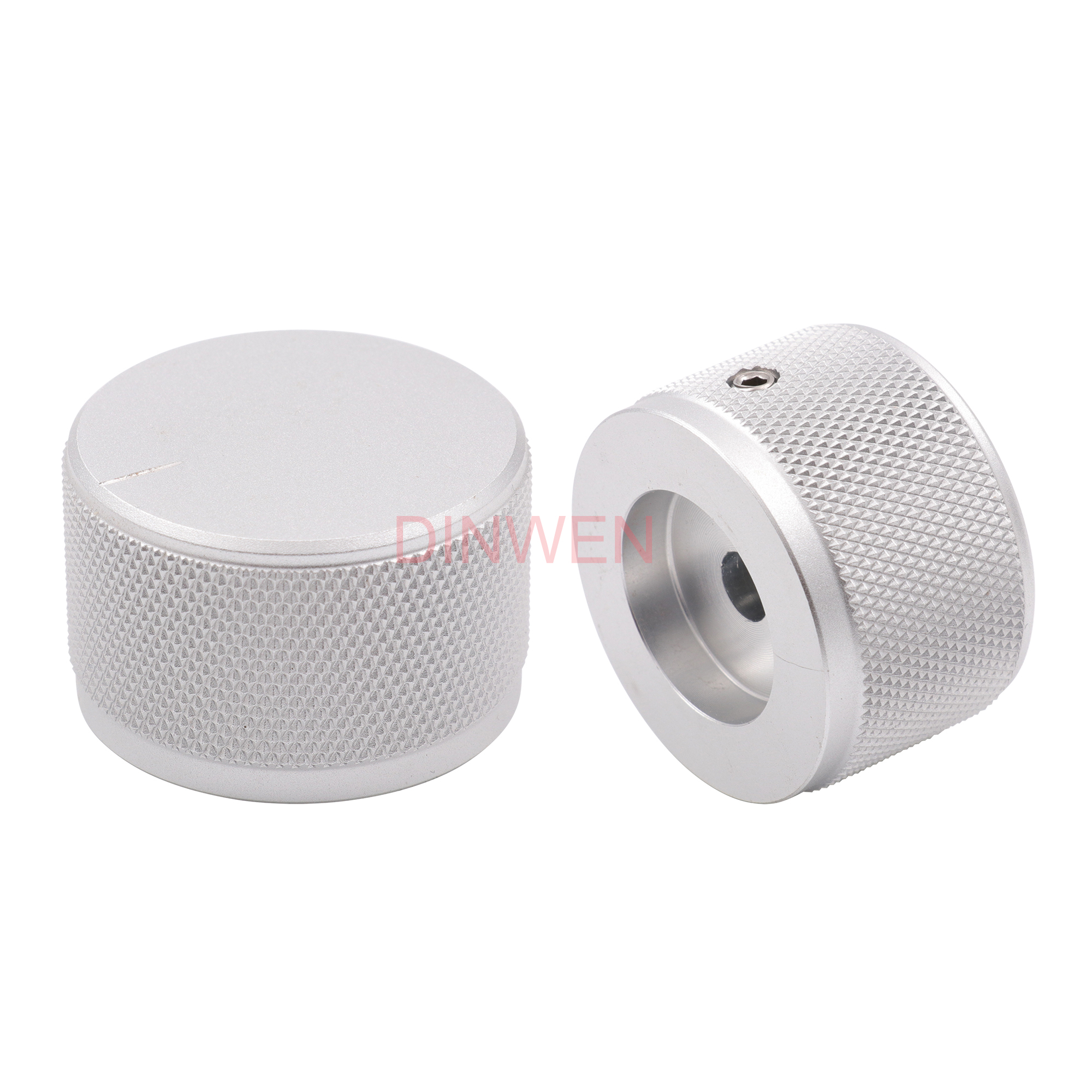 20 PCS Aluminum Knob 30*17mm Cap Rotary Switch CD Player Volume Pointer Hole 6mm